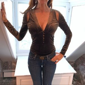 Dark olive crushed velvet cut out bodysuit XS